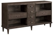 Darden Mid Century Walnut Finish 6 Drawer Media Console