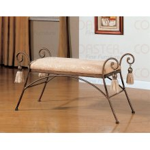 BENCH W/ CUSHION MTL FRM,SLVR/BRWN