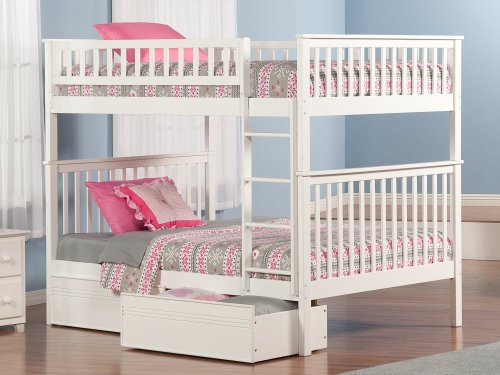 Woodland Bunk Bed Full over Full with Flat Panel Bed Drawers in White