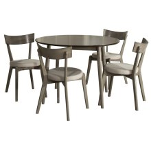 Mayson 5-piece Round Dining Set With 4 Upholstered Chairs - Gray With Chocolate Finish Top