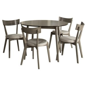 Hillsdale FurnitureMayson 5-piece Round Dining Set With 4 Upholstered Chairs - Gray With Chocolate Finish Top