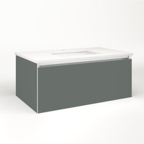 """Cartesian 36-1/8"""" X 15"""" X 21-3/4"""" Single Drawer Vanity In Matte Gray With Slow-close Plumbing Drawer and No Night Light"""