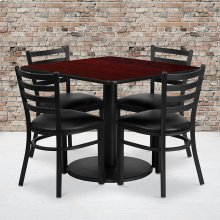 36'' Square Mahogany Laminate Table Set with Round Base and 4 Ladder Back Metal Chairs - Black Vinyl Seat