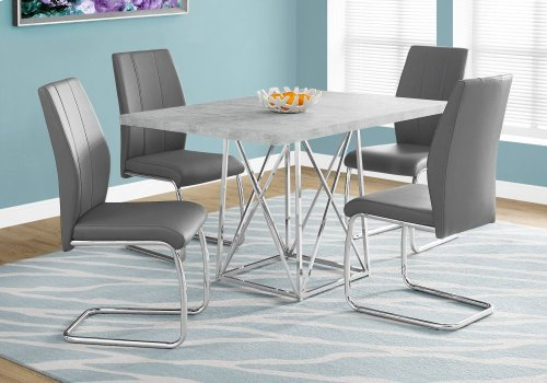 """DINING TABLE - 36""""X 48"""" / GREY CEMENT / CHROME METAL"""