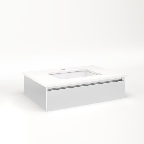 """Cartesian 30-1/8"""" X 7-1/2"""" X 21-3/4"""" Slim Drawer Vanity In Satin White With Slow-close Tip Out Drawer and Selectable Night Light In 2700k/4000k Temperature (warm/cool Light)"""