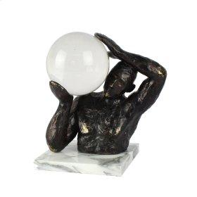 "Polyresin Statue W/ Crystal Ball 11"", Black"