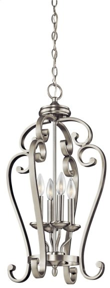 Monroe 4 Light Large Foyer Cage Pendant Brushed Nickel