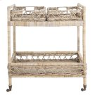 Ambrose 2 Tier Rattan Bar Cart - Grey Wash / Antique Brass Product Image