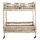 Ambrose 2 Tier Rattan Bar Cart - Grey Wash / Antique Brass Product Image