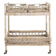Ambrose 2 Tier Rattan Bar Cart - Grey Wash / Antique Brass