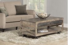 Bridgewater Coffee Table With Casters - Brushed Tan Wood