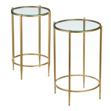 2 pc. set. Gold Round Side Table with Tempered Glass. (2 pc. set)