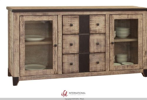 "68"" Wood console with 3 Drawers, 2 Glass doors with metal accents"