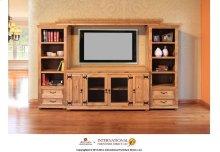 """60"""" TV-Stand w/2 Glass doors & 2 Solid wood doors"""