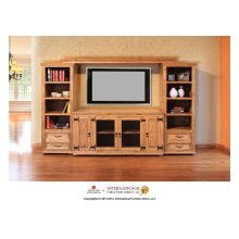 "60"" TV-Stand w/2 Glass doors & 2 Solid wood doors"