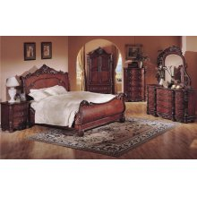 "5PC ""QUEENS"" BEDROOM SET IN RICH CHERRY (K/D/M/N/C)"