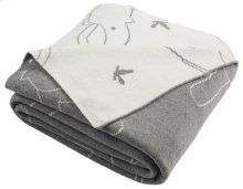 ELLA KNIT THROW - Light Grey / Ivory