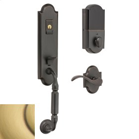 Satin Brass and Brown Evolved Manchester Handleset