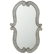 Curved Galvanized Framed Wall Mirror with Gold Edge.