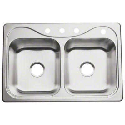 "Southhaven® Double-basin Kitchen Sink, 33"" x 22"" x 7"""