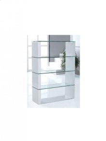 White Standing Cabinet Divider With 4 Clear Glass Shelves.
