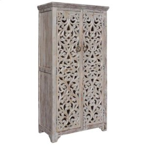 CRESTVIEW COLLECTIONSBengal Manor Mango Wood Hand Carved Open Design 2 Door Tall Cabinet