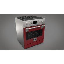 """30"""" All Gas Pro Range - Glossy Red"""