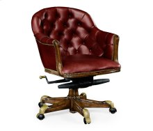 Chesterfield Style Walnut Office Chair, Upholstered in Rich Red Leather