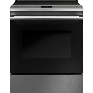 "GE30"" Smart Slide-In, Front-Control, Radiant and Convection Range in Platinum Glass"