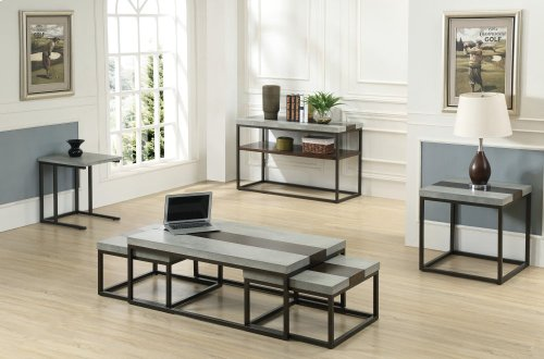 Emerald Home Stoneworks Cocktail Table W/2 Snack Tables-wood-concrete-metal Merlot/ Natural Stone T517-3pc-set
