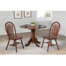 "DLU-ADW4242-820-CT3PC  3 Piece 42"" Round Drop Leaf Dining Set  Arrowback Chairs"