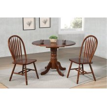 "DLU-ADW4242-820-CT3PC  3 Piece 42"" Round Drop Leaf Dining Set  Arrowback Chairs"