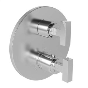"""Uncoated Polished Brass - Living 1/2"""" Round Thermostatic Trim Plate with Handle"""