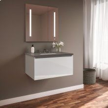 """Curated Cartesian 24"""" X 15"""" X 21"""" Single Drawer Vanity In White Glass With Slow-close Plumbing Drawer and Engineered Stone 25"""" Vanity Top In Stone Gray (silestone Expo Grey)"""