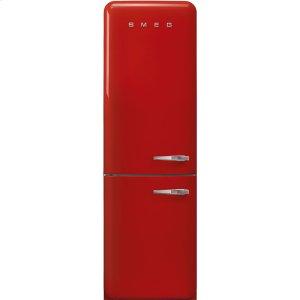 "Smeg'50s Style No Frost' Fridge-Freezer, Red, Left Hand Hinge, 60 cm (Approx 24"")"