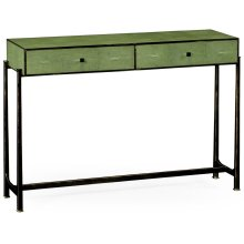 Green Faux Shagreen & Bronze Console