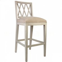 Swedish BAR Stool Antique Gray/Washed Textured Linen
