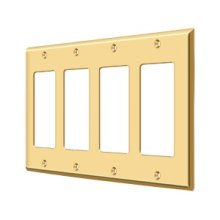 Switch Plate, Quadruple Rocker - PVD Polished Brass