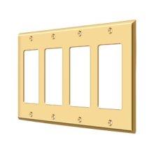 Switch Plate, Quadruple Rocker - PVD Polished Brass