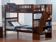 Woodland Staircase Bunk Bed Twin over Twin in Walnut