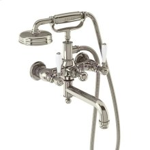 Arcade Exposed Wall-mount Tub Faucet with Handshower and White Lever Handles - Polished Chrome