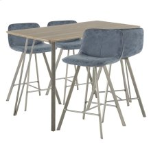 Sedona 5-piece Counter Set - Brushed Antique Metal, Brown Wood, Blue Fabric