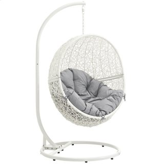 Hide Outdoor Patio Swing Chair With Stand in White Gray