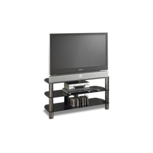 """41"""" Wide - Easy To Assemble Stand With Black Glass Top and Shelves, Accommodates Most 47"""" and Smaller Flat Panels"""