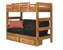 Heartland Futon Bunk Bed with Metal Deck with options: Honey Pine, Futon Mattress Included, 2 Drawer Storage