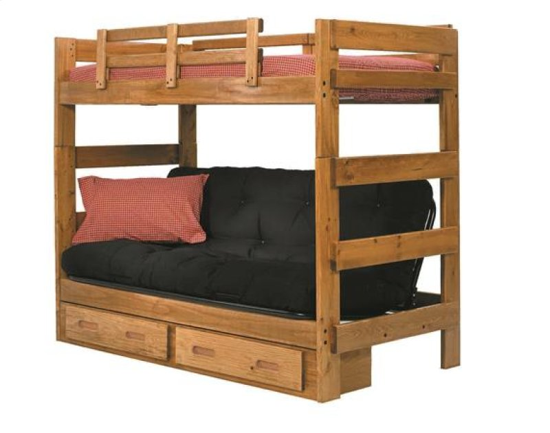 Heartland Futon Bunk Bed With Metal Deck Options Honey Pine Mattress Included