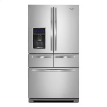 Monochromatic Stainless Steel Whirlpool® 26 cu. ft. Double Drawer French Door Refrigerator with Dual Cooling System