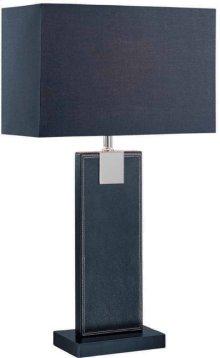 Table Lamp, Black Leather/black Fabric Shade, E27 Cfl 13w