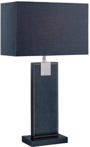 Table Lamp, Black Leather/black Fabric Shade, E27 Cfl 13w