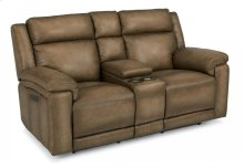 Brody Leather Power Reclining Loveseat with Console and Power Headrests
